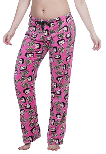 Boop Betty Pants Lounge - Garfield / Nestle / Wonka / Betty Boop Licensed Women's Warm and Cozy Plush Pajama/Lounge Pants (Small, Face Print)