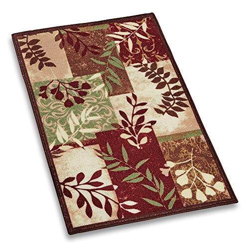 """Collections Etc Foliage Patchwork Accent Throw Rug, Silhouette Branches in Rich Colors, 27"""" X 45"""""""