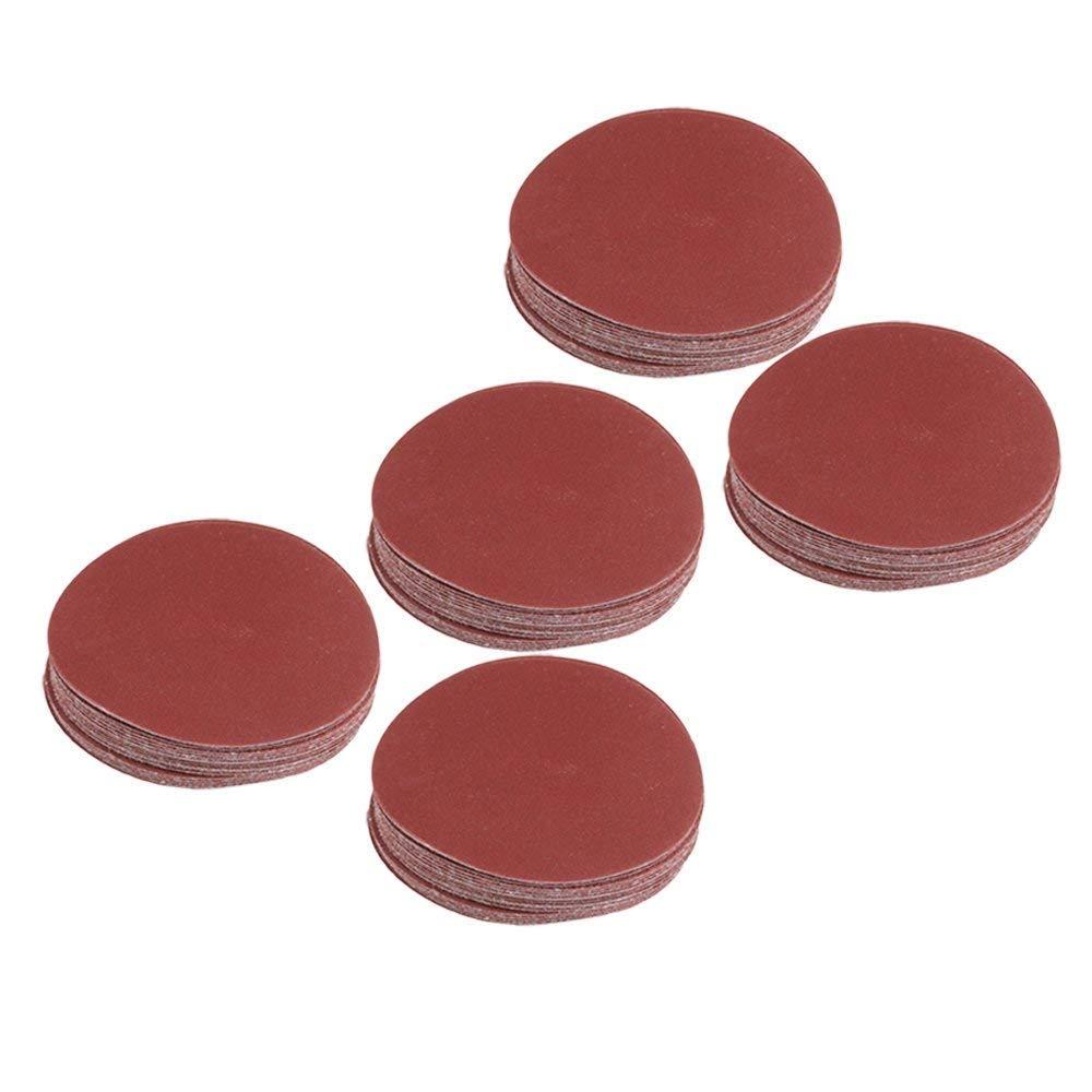 Disc Sander - 100pcs Brown 115mm Dia Oxide Abrasive 60/80/120/180 Grit Round Sandpaper