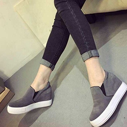 Gaorui women platform trainers wedge sneakers slip on pumps height hidden heels loafers Grey oLRFO2