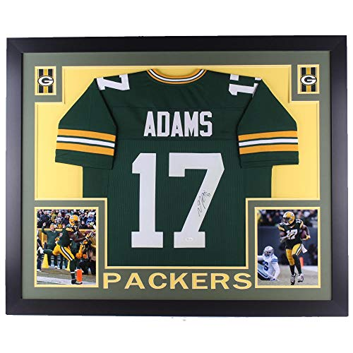 Authentic Davante Adams Signed Autographed Green Bay Packers 35x43 Custom Framed Jersey (JSA COA) ()
