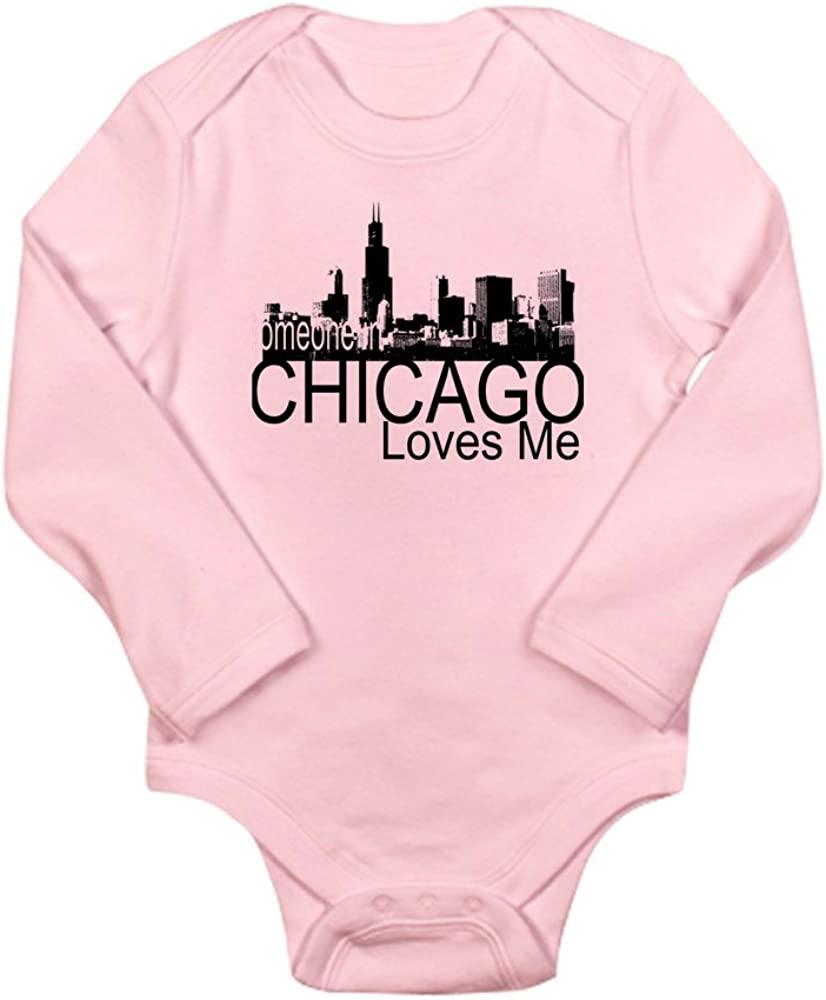 CafePress Someone in Chicago Loves Me S Long Sleeve Infant B Cute Long Sleeve Infant Bodysuit Baby Romper Petal Pink