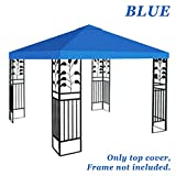 Strong Camel Replacement 10'X10'Gazebo Canopy top Patio Pavilion Cover Sunshade plyester Single Tier (Blue)