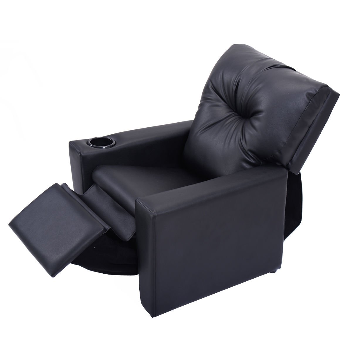 New Kids Sofa Manual Recliner Leather Ergonomic Lounge Children Gift w/Cup Holder