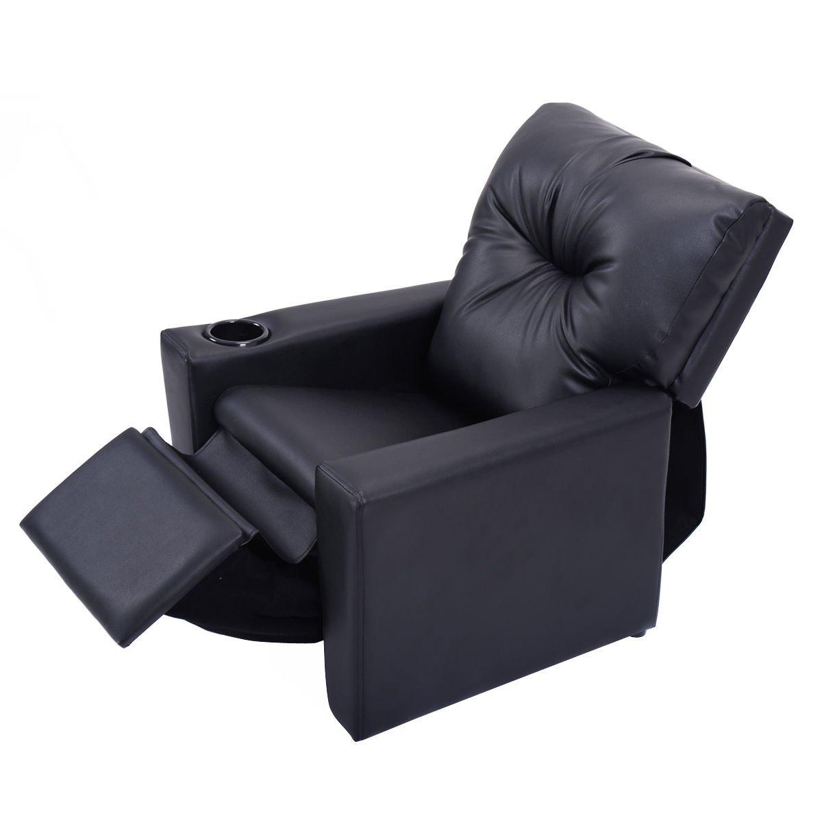 Black Multi Functional Kids Manual Recliner Sofa PU Leather Ergonomic Lounge w/ Cup Holder Capacity 110 Lbs