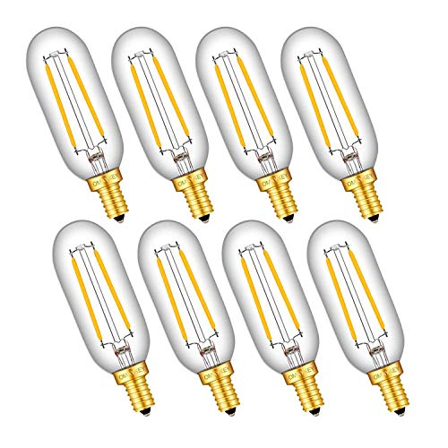 OMAYKEY 2W LED Candelabra Bulbs 25W Equivalent 2700K Warm White 250 Lumens, E12 Base Clear Glass Antique T25 Mini Tubular Dimmable LED Chandelier Light Bulb, 8 Pack
