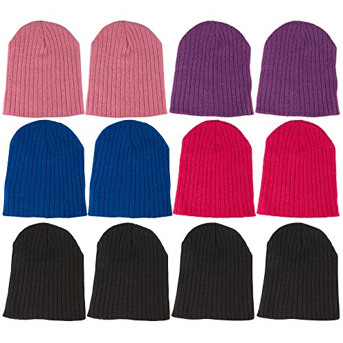 excell 12 Pairs Beanie Hats for Girls and Boys, Kids Ribbed Warm Winter Headwear, Childrens Assorted Colors