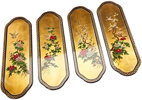 Oriental Furniture Golden Birds Flowers Curved Wall Plaques