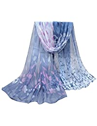 Chiffon Scarf, Malltop Women Beautiful Flower Printed Design Soft Silk Chiffon Shawl
