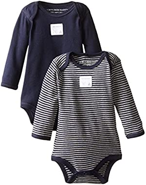 Set of 2 Bee Essentials Long Sleeve Bodysuits, Blueberry, 0-3 Months