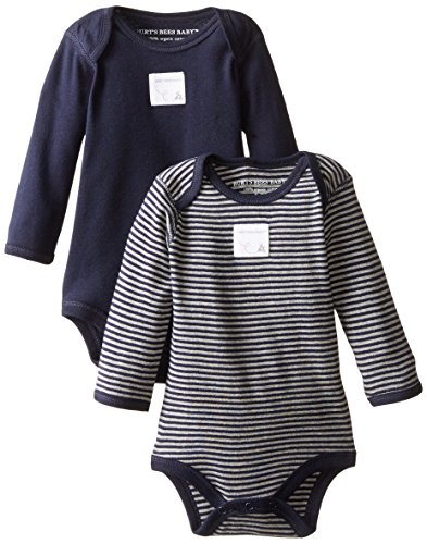 Burt's Bees Baby - Set of 2 Bee Essentials Long Sleeve Bodysuits, 100% Organic Cotton,  Blueberry,  12 Months