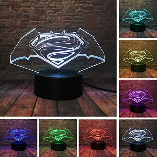 New Colorful Visual Superman vs Batman Symbol IR Remote Control Gradient Changing 3D Lamp Creative USB Christmas Halloween Friend Gift Light (Batman and -