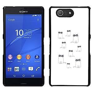 LECELL--Funda protectora / Cubierta / Piel For Sony Xperia Z3 Compact -- Gafas lindo dibujo minimalista Blanca --