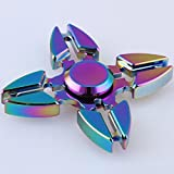 Weirui 4 Side Rainbow Brass Hexagon Fidget Spinners Hand Spinner for Killing Time Fidget Toy With Premium Hybrid Ceramic Bearing Rainbow 2