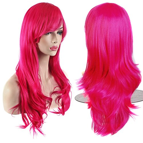 "AKStore Fashion Wigs 28"" 70cm Long Wavy Curly Hair Heat Resistant Wig Cosplay Wig For Women With Free Wig Cap (Rose)"
