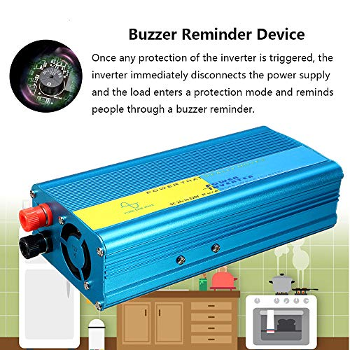 Alelife 1200W Pure Sine Wave Inverter DC 24V to AC 220V Converter for Caravan - 8 Intelligent Protection - Intelligent Temperature Control Fan - USB Port, Can Power Your Phone, Computer, Mp3/4 etc