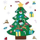Unves DIY Felt Christmas Tree Set, 26 Pcs Ornaments 3 ft Wall Hanging Christmas Tree Decorations Gift for Kids Handmade Detachable Set (Pattern 1)