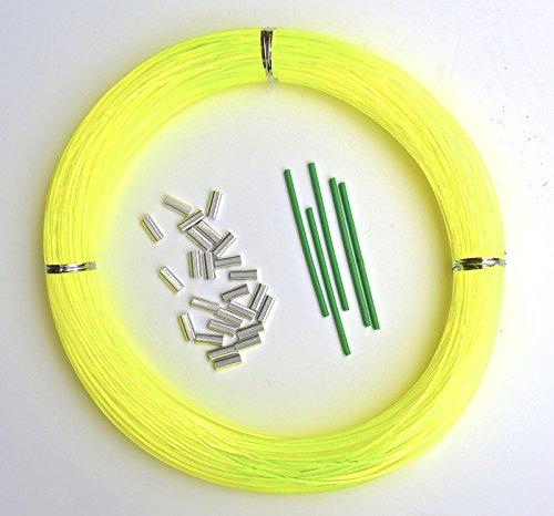 Monofilament Hi-Viz Yellow Fishing Leader Kit 100yds 1.6mm-250lb Loop 1.7mm crimps