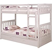 Cambridge 98922TTTR-WH Brae burn Bunk Bed with Slide-Out Trundle Childrens Frames, Twin over Twin