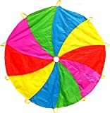 Edz Kidz 210T Fun Play Swirl Pattern Parachute with 10 Handles. Ideal Indoor/Outdoor play mat and Picnic Blanket. … (6')