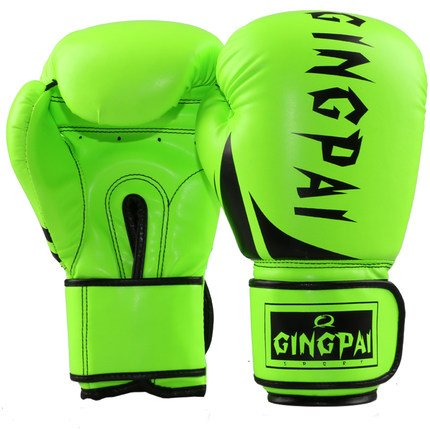 Gymforward PU Leather Professional Boxing Training Gloves MMA Fighting Sandbag Punching Gloves Thai Training Kickboxing Gloves (Green)