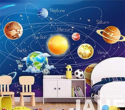 200X140Cm, 3D Wallpaper Photo Wallpaper Kids Room Mural Blue Cosmos Planet  Earth And Moon Painting Sofa Tv Background Wall Sticker, By ZLJTYN      Amazon.com