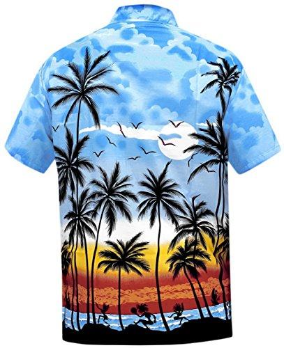 LA LEELA Strand Hawaiihemd Herren XS - 5XL Kurzarm Front-Tasche Hawaii-Print Casual Button Down Hemd Blau XXL 999