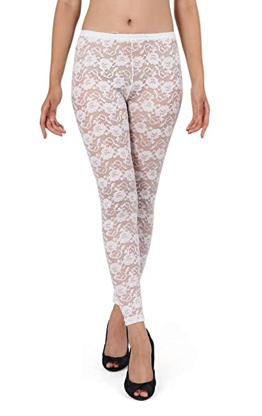 0724f2a01096d Beau Corner Women's Floral Rosa Sheer Lace Leggings White at Amazon Women's  Clothing store: Pantyhose