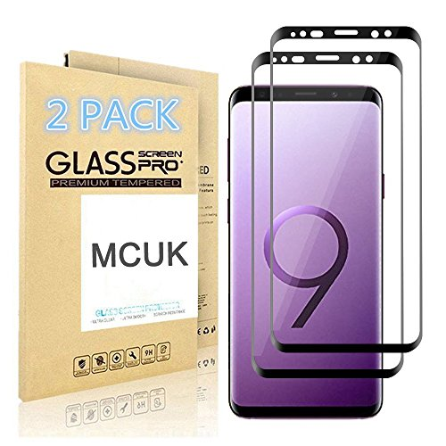 ([2-Pack] Galaxy S9 Screen Protector, MCUK [Full Coverage] Bubble-Free Anti-Scratch Anti-Fingerprint 9H Hardness Easy Installation Tempered Glass Screen Protector for Samsung Galaxy S9 (Black))