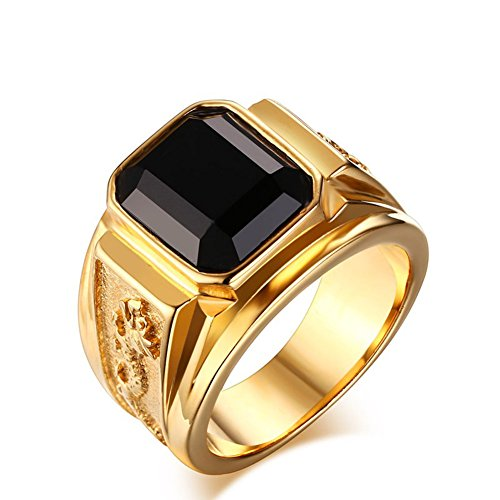 Vintage Men's 18K Gold Plated Stainless Steel Rings with Agate Gemstone,Size 8 to 12