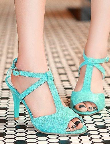 ShangYi Womens Shoes Heel Heels / Peep Toe Sandals / Heels Party & Evening / Dress / Casual Black / Blue / Pink / White Blue