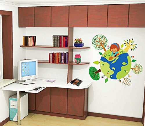 Room Decor - Moving Cartoon Kids Earth Wall Stickers Children'S Room Art Diy Cute Decoration Wallpaper Decals Background - Cartoon Couple Case - Couple Case - 1PCs