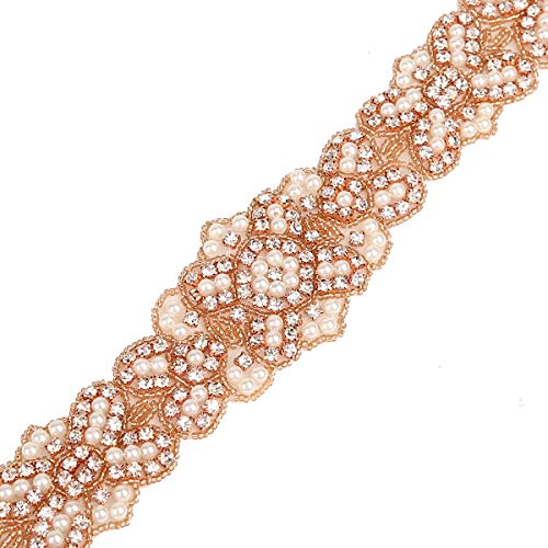 Rhinestone Wedding Applique Rose Gold Crystal Appliques Beaded for Bridesmaid Sash Belt