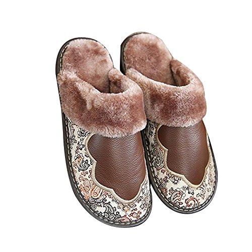 TELLW Leder Warm Baumwolle Schuhe Weiblich Männlich Winter Indoor Boden Verdickung Leder Pantoffeln Kaffee