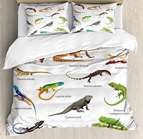 (Ambesonne Reptile Duvet Cover Set, Lizard Family Design on Plain Background Primitive Camouflage Exotic Creatures, Decorative 3 Piece Bedding Set with 2 Pillow Shams, Queen Size, Brown)