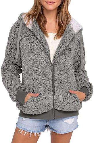 Auifor Frauen Plus Größe beiläufige Tasche mit Kapuze Parka Outwear Cardigan Sweater Coat