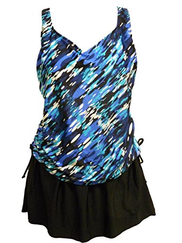 Beach Native Classic Womens Blue Black 1 Piece Swimsuit Swim Suit Skirt 24