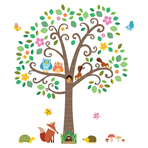 Decowall DM-1502 Large Scroll Tree and Animals Kids Wall Dec
