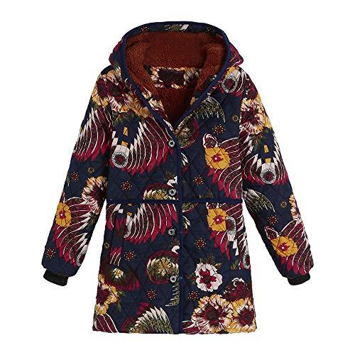 (AgrinTol Women Coats, Winter Warm Outwear Floral Print Hooded Pockets Vintage Oversize)
