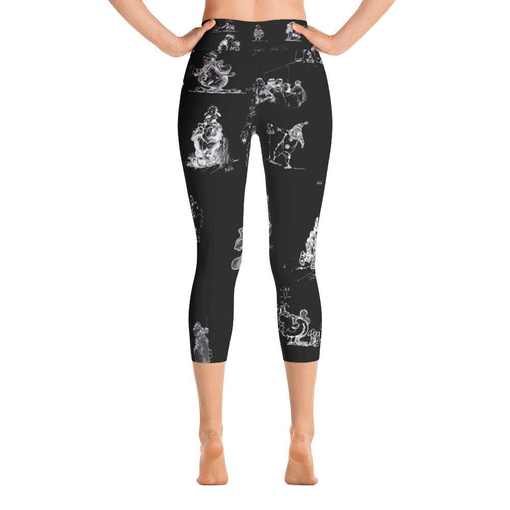 Bakshi Yudis Maui BYM /& Ralph BAKSHI Black with White All Over Doodle Yoga Capri Leggings
