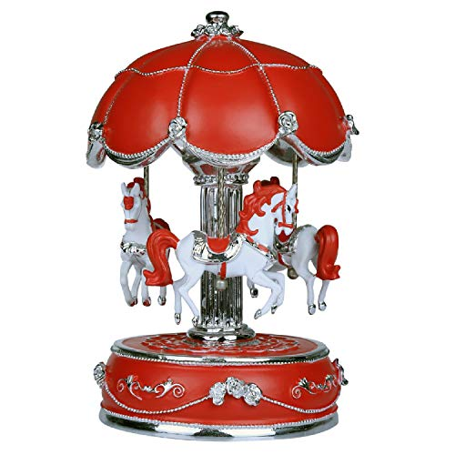 J house lifestyle Luxury Carousel Musical Box with Rotating Carousel Horse (Red)