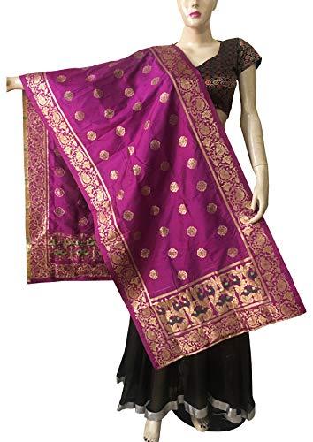 (Indian Bridal Wedding Pakistani Banarasi Women Woven Cotton Silk Veil Dupatta Stole Chunni Shawl Scarf (EE Violet)