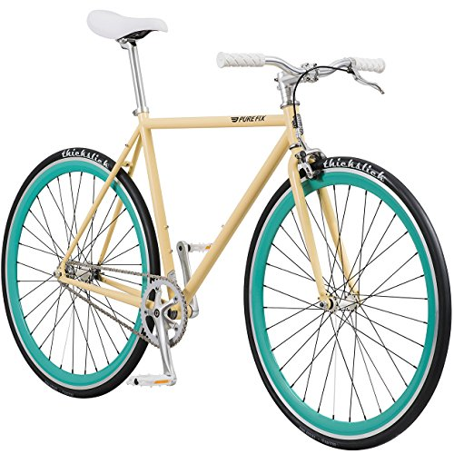 Pure Fix Original Fixed Gear Single Speed Bicycle, X-Ray Gloss Cream/Mint Green, 58cm/Large 30 Mm Cream