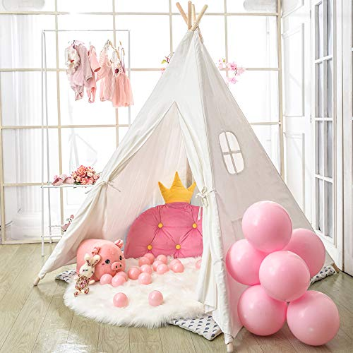 Monobeach Teepee Tent for Kids Foldable Children Play Tent for Girl and Boy with Carry Case 4 Poles White Canvas…
