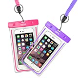 EOTW Waterproof Phone Cases for iPhone XS Max/XS/XR/X/8/6/7 with Lanyard for Swimming Fishing Surfing Water Sports Women Men 2 Pack (Purple+Pink)