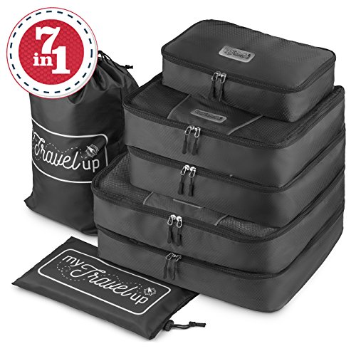 MyTravelUp, 7in1 - TRAVEL PACKING CUBES for everyone who loves travelling, HIGH QUALITY durable material, 2 BAGS for LAUNDRY/SHOES. This travel set will be a SMART ORGANIZER for clothes (Black) by MyTravelUp