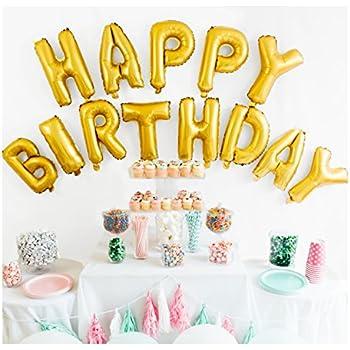 Happy Birthday Balloon Banner, 16-inch, Matte Gold