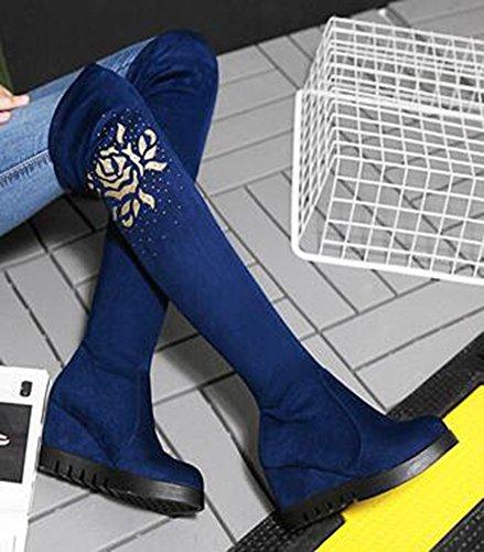 Idifu Womens Retro Rhinestones Mid Wedge Hakken Platform Frosted Boven Kniekousen Blauw