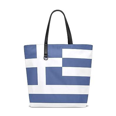5b4a9d5e1bd6 Amazon.com: Ainans Greek Flag Black Tote Bag Purse Handbag for Women ...