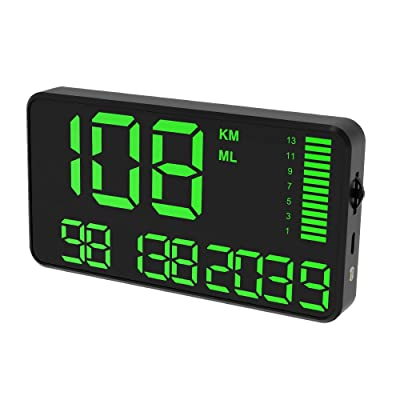Digital Universal GPS HUD Speedometer Display GPS Head Up Dispaly Speedometer Car Truck Odometer with Over Speed Warning/Car Clock / 5.4in Large Screen KingNeed C90: Car Electronics